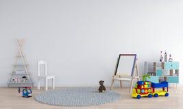 White child room interior for mockup, 3D rendering royalty free illustration