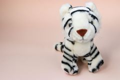 Toy white tiger cub on peach background with reflection of shadow stock image