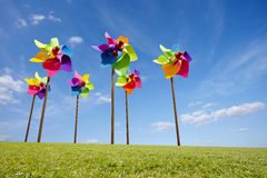 Toy windmill concept of green energy wind farm Stock Photos