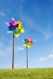 Toy windmill concept of green energy wind farm Royalty Free Stock Photo
