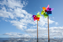 Toy windmill concept of green energy wind farm Stock Photo