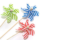 Toy windmills on white background (3) Stock Photos