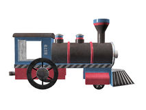 Toy Wodden Steam Engine Train. Vintage toy train steam engine, illustration side view on clean white background Royalty Free Stock Image