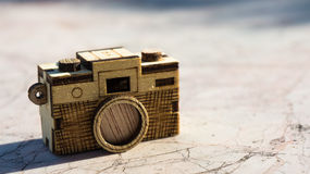 Toy wood camera. Vintage style of Toy wood camera Royalty Free Stock Images