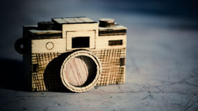 Toy wood camera. Vintage style of Toy wood camera Royalty Free Stock Photo