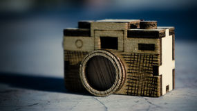 Toy wood camera. Vintage style of Toy wood camera Royalty Free Stock Photography