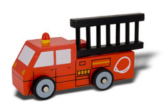 Toy wood firetruck. Isolated over white with a clipping path Stock Images