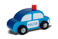 Toy wood police car Stock Photos
