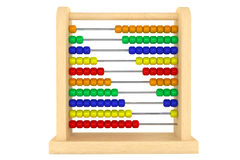 Toy wooden abacus. Toy abacus with rainbow colored beads on a white background Royalty Free Stock Images