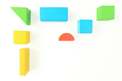 Toy Wooden Blocks no branco Foto de Stock