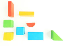 Toy Wooden Blocks no branco Imagem de Stock Royalty Free
