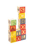Toy wooden blocks spelling Back To School Royalty Free Stock Photos