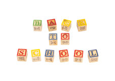 Toy wooden blocks spelling Back To School Royalty Free Stock Image