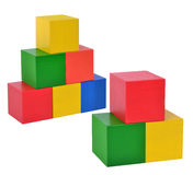Toy wooden blocks stack Royalty Free Stock Photos