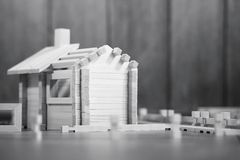 Toy wooden house. The constructor is made of natural wood for ch royalty free stock photography