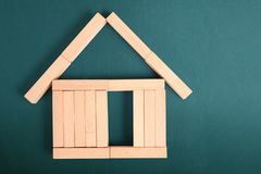 Toy wooden house constructor is made of wood Stock Photography
