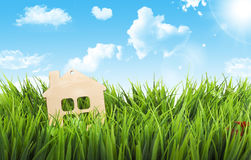 Toy wooden house in green grass on sunshine. Stock Photo