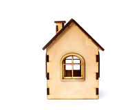 Toy wooden house isolated on white background Royalty Free Stock Images