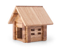 Toy wooden house over white Stock Image