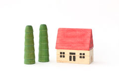Toy Wooden House and Trees Royalty Free Stock Photos