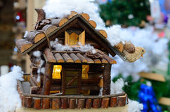 Toy wooden house in the winter Stock Image