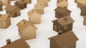 Toy Wooden Houses en incluso una rejilla en una superficie concreta simple ilustración del vector