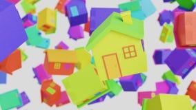 Toy Wooden Houses Floating différemment coloré dans un espace vide illustration de vecteur