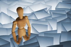 Toy Wooden Mannequin in Paper Maze Royalty Free Stock Photo