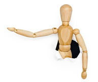 Toy wooden person was put out from hole Stock Image