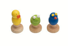 Toy woods. Duck frog and bird Stock Image