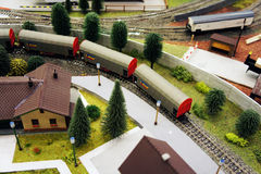 Toy world on the railway Stock Photography