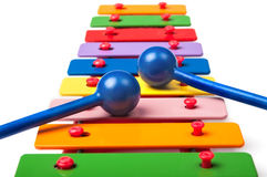 Toy xylophone. On white background royalty free stock photography