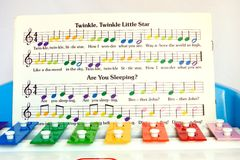 Toy Xylopyone. A child's xylophone with sheet music mounted for learning to play Royalty Free Stock Photos
