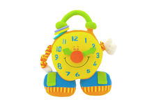 Toy yellow cheerful watches. Children's toy colourful watches isolated on a white background Stock Photo