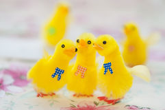 Toy Yellow Chicks for Easter Decoration royalty free stock photography