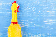 Toy yellow shrilling chicken on blue wooden background Stock Photography