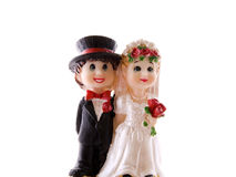 Toy Young maried couple. Happy maried couple for decoration on cakes and pies Royalty Free Stock Image
