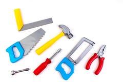 toy yrkesm?ssiga reparera verktyg f?r dekorera och byggande renovering st?llde in p? den p? vita bakgrunden elektriskt arkivfoto
