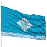 Toyama Capital City Flag on Flagpole, Flying in the Wind, Isolated on White Background Stock Images