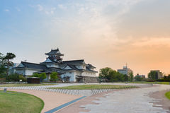 Toyama castle historic landmark in toyama japan with beautiful s royalty free stock images