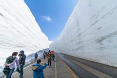 TOYAMA, JAPAN - April 30, 2017: De mensen lopen bij de weg Stock Foto's