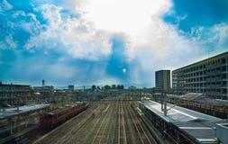 Toyama, Japan - 11. Mai 2017: Takaoka-JR.-Station, Toyama Prefec Lizenzfreie Stockfotos