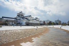 Toyama-Schloss mit Schnee in Toyama-Stadt Lizenzfreie Stockfotos