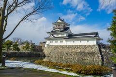 Toyama slott med den insnöade Toyama staden Arkivfoton
