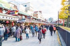 Toyko, Japan - 28 NOV 2016: Tourists walk on Nakamise Dori in Se Stock Photography