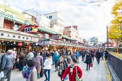 Toyko, Japan - 28 NOV 2016: Tourists walk on Nakamise Dori in Se. Nsoji shrine. Sensoji temple at Japan Stock Photography