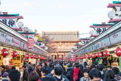 Toyko, Japan - 28 NOV 2016: Tourists walk on Nakamise Dori in Se. Nsoji shrine. Sensoji temple at Japan Royalty Free Stock Images