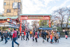 Toyko, Japan - 28 NOV 2016: Tourists walk on Nakamise Dori in Se Royalty Free Stock Images