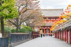Toyko, Japan - 16 November 2016: Tourists walk on Nakamise Dori. In Sensoji shrine. Sensoji temple - Tokyo, Japan Stock Photo