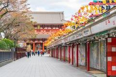 Toyko Japan - 16 November 2016: Turister går på Nakamise Dori Royaltyfria Foton